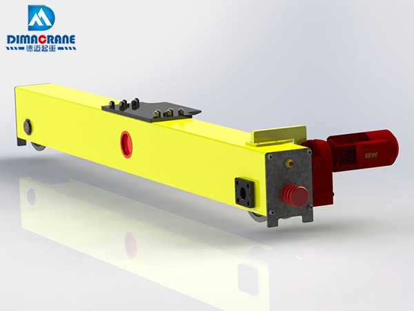 European style end carriage for single girder bridge cranes