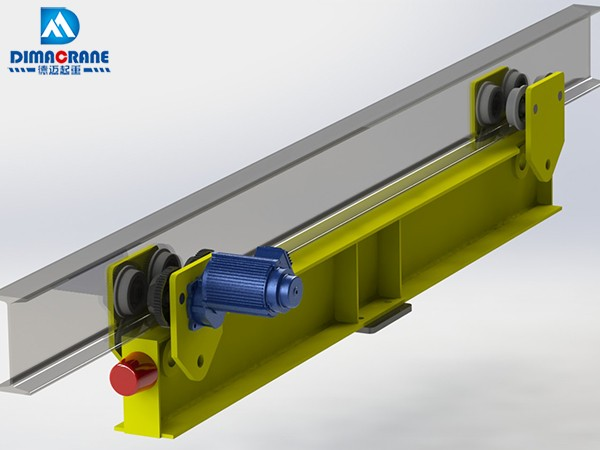 Taiwan style end carriage for suspension overhead cranes