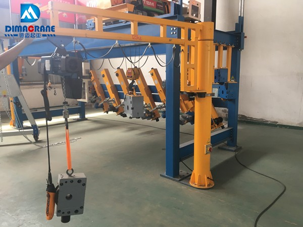 125 kg fixed slewing jib crane with Rigid track Rotating arm
