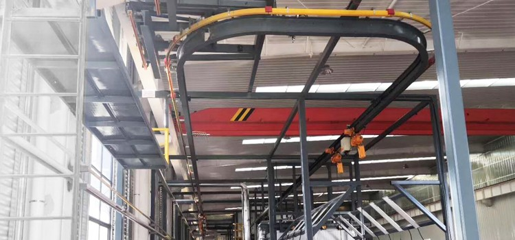 """2.5 ton monorail smart overhead crane of """"I"""" beam track with chain hoist and electric rail switch for automation painting house, controlled by PLC"""
