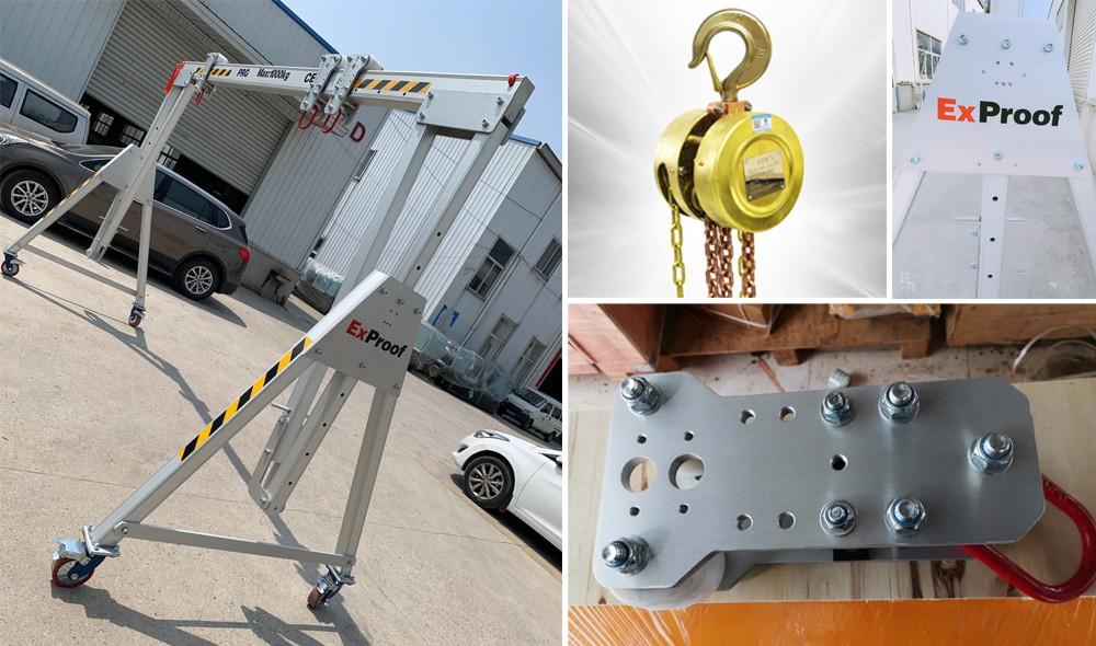 1 ton Portable aluminum gantry crane with explosion proof hoist