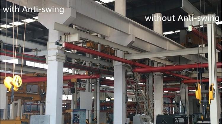 5 + 5 ton single girder crane with smart anti swaying function