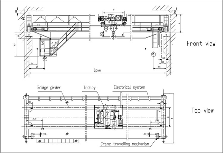 QD model 250 / 15 ton europe style 200 ton double girder beam electric overhead traveling bridge crane in workshop hot sale