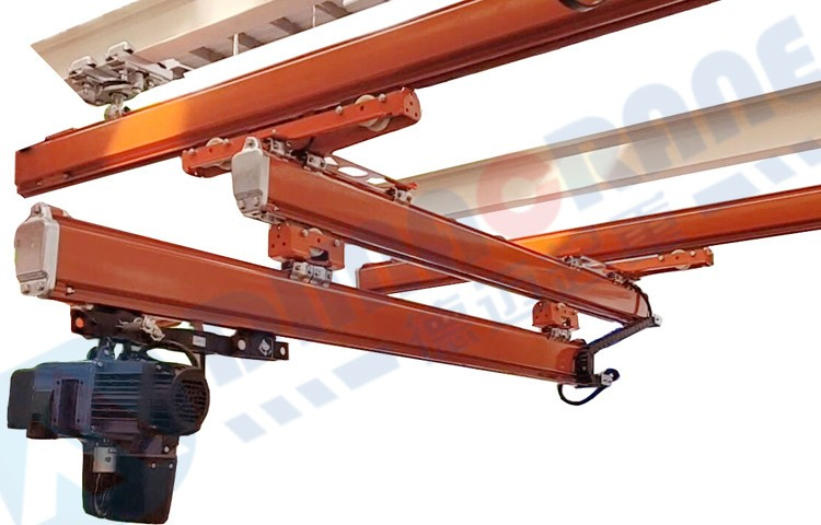 KBK ergo trolley with anti kick-up for overhung and extending crane