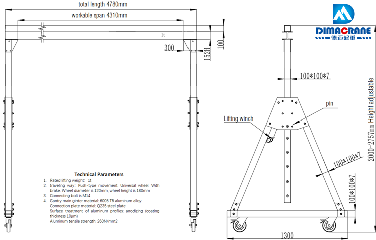 Customized 1 ton 5m Aluminium alloy portable moving gantry cranes for various industries
