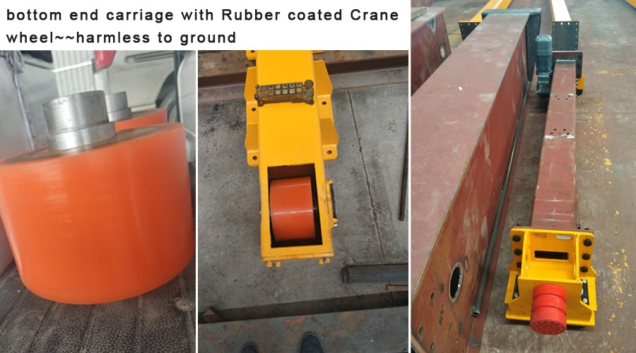 bottom end carriage with Rubber coated Crane wheel