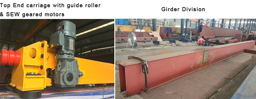 Top End carriage with guide roller & SEW geared motors & Girder Division